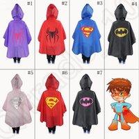 baby waterproof poncho - Kids Superhero Raincoat Superman Batman Rain Coat Baby Spiderman The Avenger Raincoat Waterproof RainCoat Super Hero Poncho OOA1104