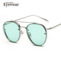 beam lenses - BOUTIQUE Women Round Double Beam Sunglasses Men Clear lens Vintage Glasses UV400