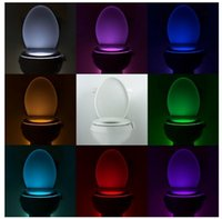 automatic bathroom - Newest Body Sensing Automatic LED Motion Sensor Night Light Colors Change Toilet Bowl Light Toilet Bowl Lid Bathroom Seat Light veilleuse