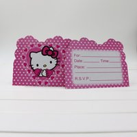 baby shower favors themes - pc Baby Shower Cartoon Theme Decoration Kids Favors Disposable Paper Invitation Card Birthday Party Hello Kitty Supplies