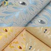 Wholesale Europe Style Luxury Diamond High grade Non woven Wallcoverings Damascus Bedroom Tv Sofa Background d Papel De Parede Roll R522