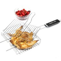 barbecue suppliers - Supplier cm High Quality Stainless Steel Wire BBQ Best Price Barbecue Grilling Basket Roast Folder Tool with Wooden Handle
