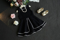 beaded patches - 2016 Spring Autumn Korean Style Girls Fashion Jumper Skirt Round Neck With Bling Macrame Patch Multi layer Lace Tutu Skirt Cute DressesQ0473