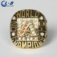 North American arizona championship ring - Baseball Ring Factory Sale CH1039 Liaobao Gold Plated Alloy Arizona Diamondbacks Crystal Baseball Championship Ring