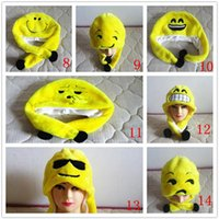 Wholesale New Emoji Plush Hat QQ Expression Pattern Ear Muffs Caps Cartoon Plush Hat Adults And Children Can Wear