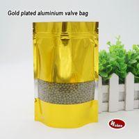 aluminum foil material - Golden aluminum foil self styled stand bag Food grade material Food packaging store Ornaments bags Spot package