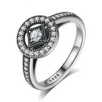 allure fashion - Classic Sterling Silver Vintage Allure Clear CZ Finger Ring Women Luxury Fashion Jewelry