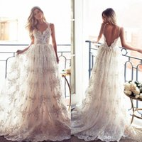 A-Line belle gowns - 2016 Vintage Lurelly Belle Full Lace Wedding Dresses Sexy Spaghetti Straps Backless Wedding Gowns Sweep Train Beach Garden Bridal Gowns