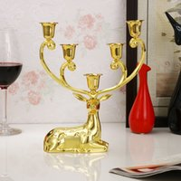 Wholesale Luxurious golden Spotted Deer candle holders alloy candlestick candelabra for wedding decoration Home Decoration