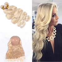 band extensions - Blonde Body Wave Hair Bundles With Lace Band Frontal Ear To Ear Frontal With Hair Extension