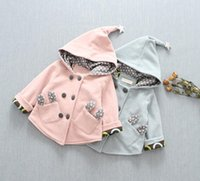 Wholesale Cute Baby Girls line Buttons Coats with Lovely Pocket Fall Winter New Arrival Kids Boutique Clothing Little Girls Coats