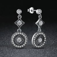 Stud allure fashion - Authentic Sterling Silver Drop Earrings Vintage Allure with Dazzling Clear CZ Fashion Women Engagement Jewelry ER081
