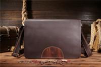 Wholesale Mens Genuine Leather Business Briefcase Laptop Notebook Bag Messenger Shoulder Business Bag Tote