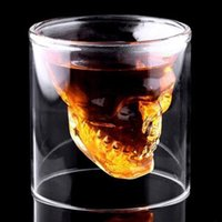beer decorations - 2017 New Shot Glass Skull Head Cup Crystal Ware Cup Beer Wine Drinking family Bar necessary Clear Transparent hot selling Creative Gifts