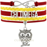 Wholesale Straw Owls - Custom-Infinity Love Chi Omega Owl Charm Multilayer Bracelet Yellow Red Cardinal Straw Suede & Leather Bracelet Women's Fashion