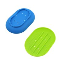 Wholesale Silicon Soap Dish Water Bathroom Silicone Soap Box Storage Holder Plate Drain Popular