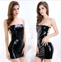 Wholesale Women Black Sexy Leather Dress Latex Club Wear Costumes Clothing PVC Lingerie Catsuits Cat Suits Sex Products