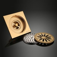 bathroom sink materials - Bathroom Floor Drain Brass Material Plated Copper Golden Color Shower Drains Strainer Cover Sink