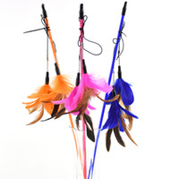 Wholesale Top quality Double substitution Pet cat toy Cute Design bird Feather Teaser Wand Plastic Toy for cats
