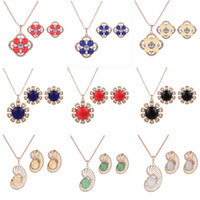 african opal - Jewelry Sets Earrings Necklaces Piece Set Fashion Women Exquisite Rhinestone K Gold Plated Flowers Party Jewelry JS311