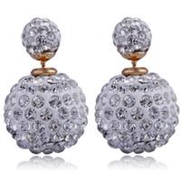 Wholesale 2017 New Rhinestone Color Change boucle d oreille Double Sided Pearl Earring bijoux Ball Earrings Studs for Women jewelry