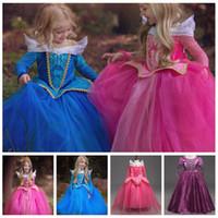 belle dance costumes - Baby Sleeping Beauty Dresses Girl Princess Aurora Dress Fancy Belle Dress Party Costume Xmas Cosplay Dress Tutu Dance Dresses Skirts F4