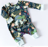no brand baby print paper - 2017 New Infant Clothes Baby Rabbit Moon Print Rompers Newborn Clothing Toddlers Full Print Paper Crane One Piece Jumpsuit Baby Climb Romper