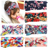 Wholesale 6 colors Infant Floral Printed Cross Headbands baby hair bands printed elastic headbands soft stetch headband Christmas Hair Accessories JF