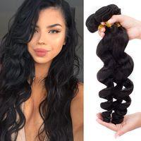 7A Virgin Peruvian Hair Extension Trame Remy Loose Wave Cheveux Virgin 8 '' - 28 '' Weave Extensions de cheveux humains 3Pcs / Lot Natural Black peut être teint