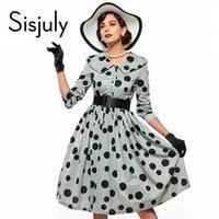Venta al por mayor- Sisjuly vintage vestido de las mujeres solapa lunares Single-Breasted manga larga de una línea de vestidos de primavera otoño invierno