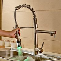 Wholesale Brushed Nickel LED Colors Pull Down Spray Kitchen Sink Faucet One Hole Mixer Tap