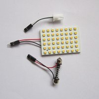 auto lamp bulbs - 48 LED Auto Car Dome Festoon Interior Bulb Roof Reading Light Lamp with T10 Adapter Festoon Base SMD