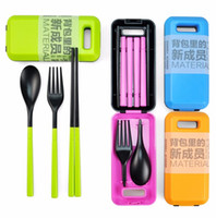 Wholesale Portable Travel Cutlery Fork Chopsticks Spoon Eco friendly Tableware Camping Picnic Set color