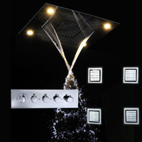 Wholesale Luxury ceiling bathroom accessories LED rain SPA shower head set mixer cold and hot water valve massage body spray jets set