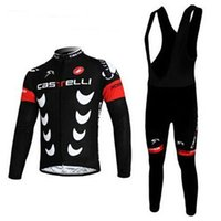 Wholesale Castelli Autumn - Castelli 2016 Cycling Jerseys Long Sleeve Men Fashion Black Autumn Winter Thermal Fleece Cycling Clothing Kits White Padded Bib None Bib Set