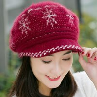 Cheap Wholesale-Fashion Snowflake Women Rabbit Fur Beret Hat Fall Winter Female Warm Knitted Cashmere Wool Stretched Casual Visor Caps Hot Sale