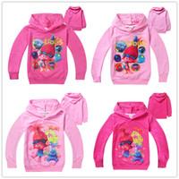 Wholesale Newly Styles Trolls Kids Cartoon Hoodies Poppy Branch Spring Autumn Hoodied Tshirts Girls Long Sleeve Sweatshirts Kids Clothes Free DHL