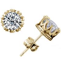 beautiful ruby - Women Earrings Sterling Silver CZ Diamond Crown Stud Earrings Fashion Jewelry Beautiful Wedding Engagement Gift ER