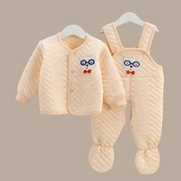 baby thermal clothes - Baby cotton long sleeve thermal underwear suit bag instep with colored cotton baby clothes pieces pairs