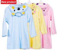 bamboo terry robe - Kids Cartoon Animal Bathrobe Bamboo Fiber Fabric And CottonTowel Hooded Bath Towel Terry Wrap Bath Robes