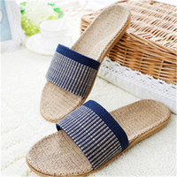 adult knitted slippers - New Adults Slippers Summer Linen Comfortable Flax Knitted Bedroom Anti slip Shoes Women Men Couples Home Indoor Slippers