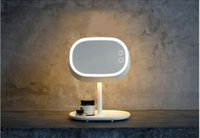 Wholesale Rechargeable bedroom bedside lamp with creative mirror as well as storage function a multi purpose give a gift to the lady
