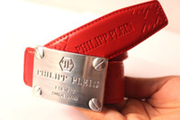 Wholesale Hot Brand Men buckle Best Quality Genuine Leather luxury Red color rectangle Designer Cowhide PP Belt For Men Luxury Q Belts Riem ceinture