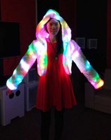 Wholesale Express Fast Freeship Womens Xmas LED Multi Color Faux Fur Coat Costume Warm Hoodie With Shiny Lights Christmas Winter Jacket outerwear