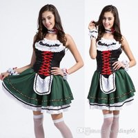 beer maid outfits - Beer Festival Dress Grass Green Maid Service Maid Outfit Bracelet Neck Ring Skirt Lace Bandage Embroidery