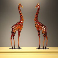 Wholesale TOOARTS Metal Sculpture Iron braided Giraffe Home Furnishing Articles Handicrafts A003