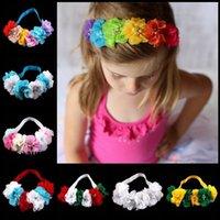 Wholesale Baby Flower Headband six chiffon Flower with drill Headwear infant elastic hairband headwear girls hair accessories