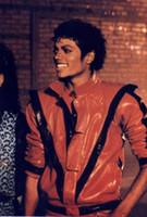 al por mayor ropa mj-Ropa del funcionamiento 2017 Clásico raro MJ MICHAEL JACKSON Chaqueta roja del Thriller del traje para los ventiladores Imitator El mejor desgaste de la etapa del regalo