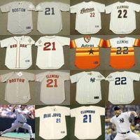al por mayor retroceso red sox-# 21 Roger Clemens Cooperstown Lanzamiento Jersey Boston Red Sox 1987 1990 Toronto Blue Jays 1997 Nueva York Yankees 2003 Houston Astros 2004 # 22