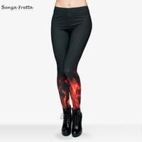 Mix Ville Hot Sale 3d Fire Imprimer Printemps Eté Robe Femmes Leggings Fashion Ladies Fitness Pantalons Femmes Haute élastique et de la qualité